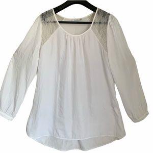 Ricki's white  long sleeve blouse lace plus